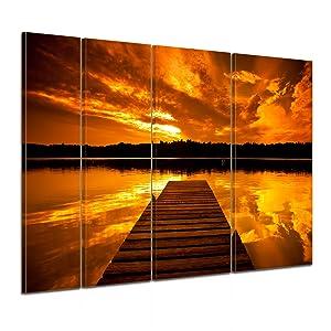 Bilderdepot24 Keilrahmenbild Steg retro  180x120 cm 4 teilig  fertig gerahmt, direkt vom Hersteller   Kritiken und weitere Informationen
