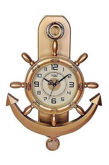 altra plastic pendulum wall clock 45 cm x 30 cm x 5 cm copper