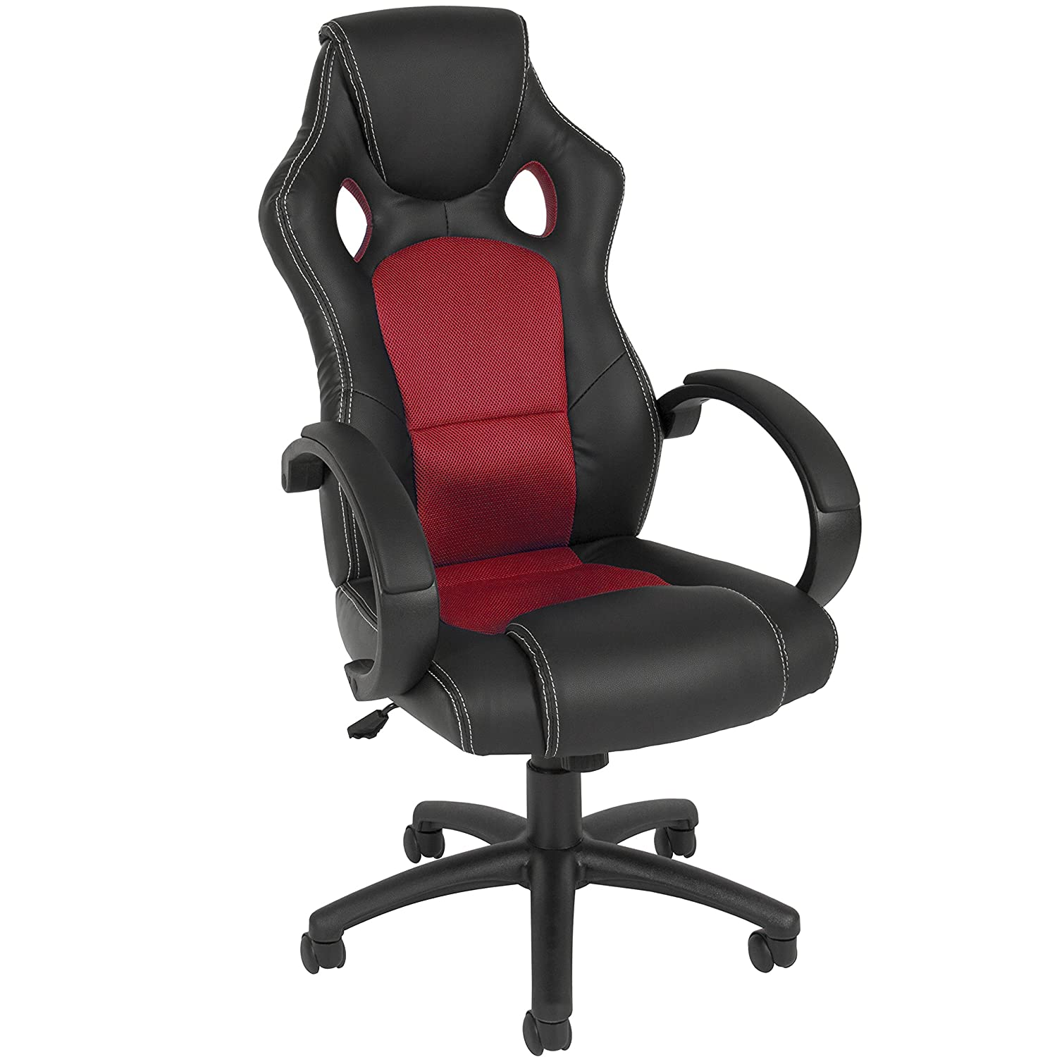Best Choice Products Executive Racing Office Chair PU Leather Swivel Computer Desk Seat High-Back Red