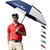 Athletico 68 Inch Automatic Open Golf Umbrella - Extra Large Double Canopy Umbrella Is Windproof and Waterproof - Features Ergonomic Rubber Handle (Navy Blue/White, 68 inch) (Color: Navy Blue/White, Tamaño: 68 inch)