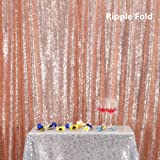 PartyDelight 4ftX7ft Rose Gold Sequin Backdrop Curtain Photo Booth for Wedding Party Birthday Decoration. (Color: Rosegold, Tamaño: 4FTx7FT)