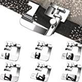 6 Pieces Rolled Hem Pressure Foot Sewing Machine Presser Foot Hemmer Foot Set (3/8 Inch, 4/8 Inch, 5/8 Inch, 6/8 Inch, 7/8 Inch, 8/8 Inch) Adjustable Wide Hemmer Foot Set for Singer, Brother, Jan