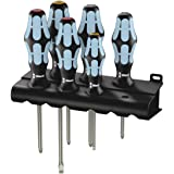 Wera 05032063001 Kraftform Stainless 3334/3350/3355/6 Stainless Steel Slotted/Phillips/Pozidriv Screwdriver Set and Rack, 6-Piece (Color: Black/Blue, Tamaño: Slotted: 6.5x150mm, 3x80mm,. Phillips: PH1x80mm, PH2x100mm. Pozidriv: PZ1x80mm, PZ2x100mm)
