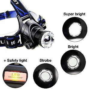 HFAN LED Headlamp Headlight, Super Bright 3 Modes 800 Lumens Adjustable Zoomable Waterproof Headlamp for Camping, Riding, Running, Night Walking, Fish