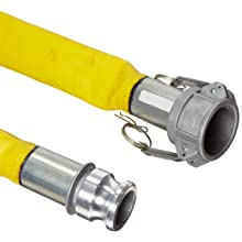 Goodyear EP Spiraflex Yellow Heavy Duty PVC Water Discharge Hose Assembly, Aluminum Cam And Groove Couplings