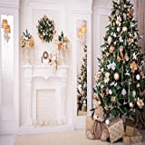 8x8ft Green Christmas Tree Photo Backgrounds Wrinkle free White Fireplace Cute Rabbit Gift Photography Backdrops for Child (Color: christmas2, Tamaño: 8x8ft)