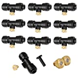 Yotako Misting Nozzles Kit 12x Brass Mister Nozzles 0.3mm 10/24 UNC+ 10x 1/4'' Slip-Lok Misting Nozzle Tees+ 1x Plug, Fog Nozzles for Patio Misting System Outdoor Cooling System Garden Water Mister (Color: Brass, Tamaño: 0.3mm)
