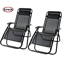 2-Set Merax Zero Gravity Folding Reclining Patio Chair (Black)