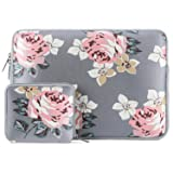 MOSISO Laptop Sleeve Compatible 13-13.3 Inch MacBook Pro, MacBook Air, Notebook with Small Case, Water Repellent Lycra Rose Pattern Protective Carrying Bag Cover, Gray (Color: Gray, Tamaño: 13-13.3 Inch)
