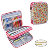 Teamoy Organizer Case for Interchangeable Circular Knitting Needles, Crochet Hooks and Knitting Accessories, Keep All in One Place and Easy to Carry, Flowers Pink (No Accessories Included) (Color: Flowers Pink, Tamaño: Small)