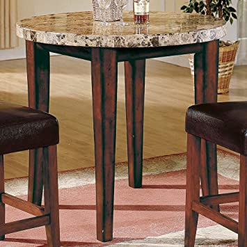 Montibello Round Marble Top Counter Height Table in Cherry