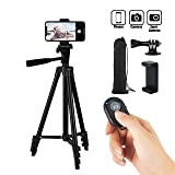 Hitch Phone Tripod, Gopro Tripod 51 Inch 130cm Aluminum Lightweight Smartphone Tripod for iPhone/Samsung/Huawei Cellphone, Camera and Gopro with Bluetooth Remote Control, Carrying Bag and Gopro Mount (Color: BLACK, Tamaño: 51