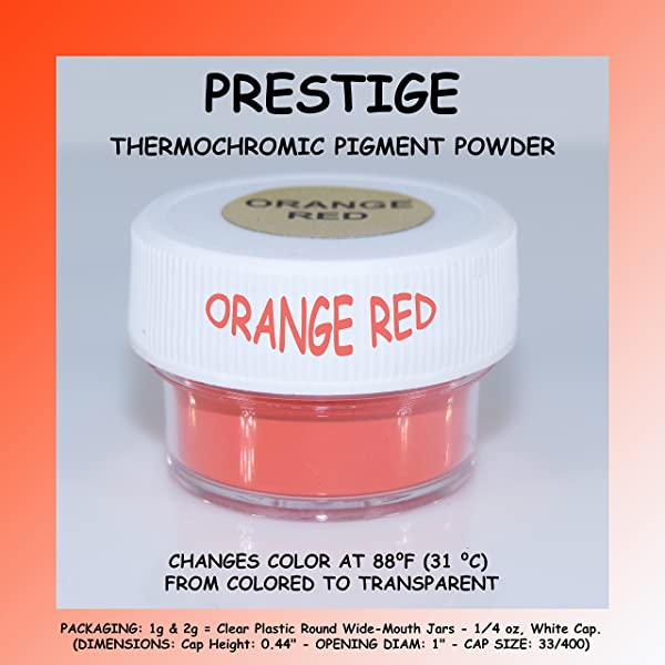 Prestige THERMOCHROMIC Pigment That Changes Color at 88°F (31 °C) from Colored to Transparent (Colored Below The Temperature, Transparent Above) Perfect for Color Changing Slime! (1g, Orange RED) (Color: ORANGE RED, Tamaño: 1g)