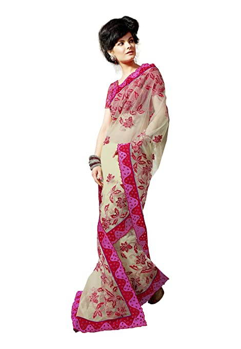 Fabdeal Women Net Embroidered Saree with Blouse Piece available at Amazon for Rs.3199