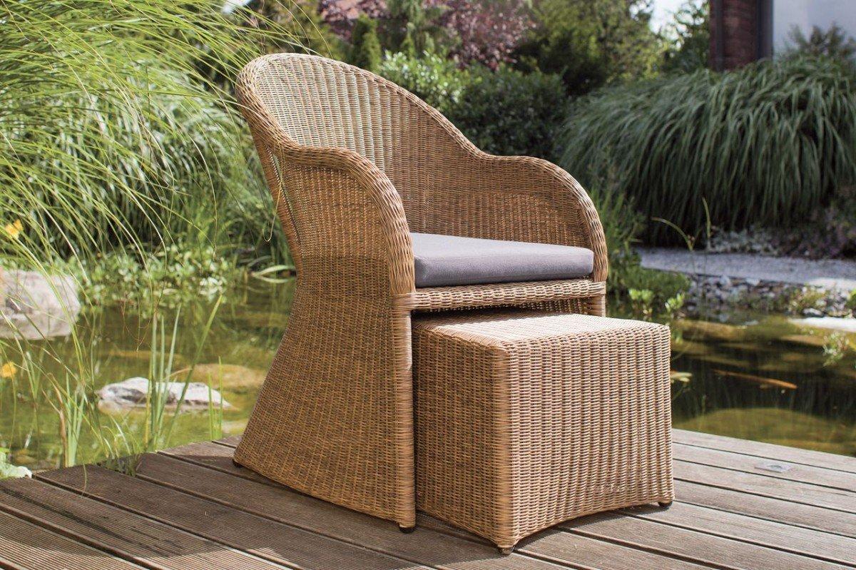 Dreams4Home Lounge Sessel 'Sinai' - Sessel, Sitz, mit Hocker, mit Polster, Balkonmöbel, Terrassenmöbel, Loungemöbel, Gartenmöbel inklusive Kissen, Rattan, Aluminiumgestell, in natur