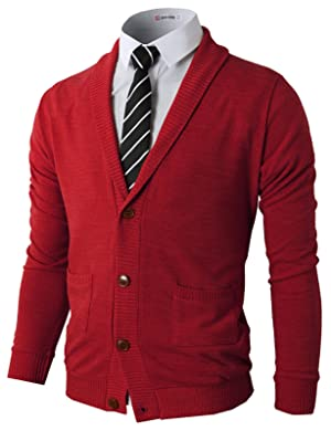H2H Mens Basic Shawl Collar Knitted Cardigan Sweaters with Ribbing Edge RED US L/Asia XL (CMOCAL07)