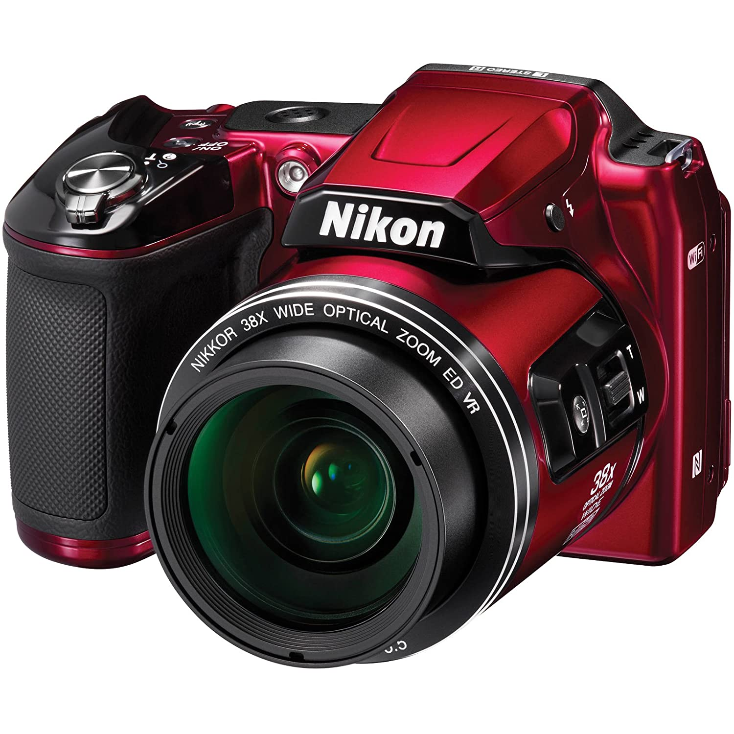 Nikon COOLPIX L840 Digital Camera with 38x Optical Zoom and Built-In Wi-Fi (Red) (Certified Refurbished)