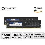 Timetec Hynix IC 16GB KIT(2x8GB) DDR4 2133MHz PC4-17000 Non ECC Unbuffered 1.2V CL15 2Rx8 Dual Rank 288 Pin UDIMM Desktop PC Computer Memory Ram Module Upgrade (16GB KIT (2x8GB)) (Tamaño: 16GB KIT (2x8GB))