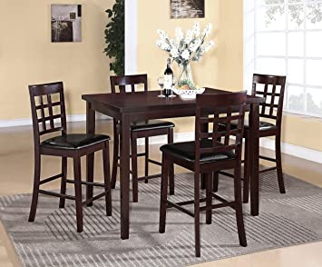 Poka 5PC Espresso Finish Rectangle Wood Counter Height Dining Set