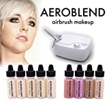 Aeroblend Airbrush Makeup Personal Starter Kit - Professional Cosmetic Airbrush Makeup System - LIGHT Foundation - Color Match Guarantee - Full 1-Year Warranty