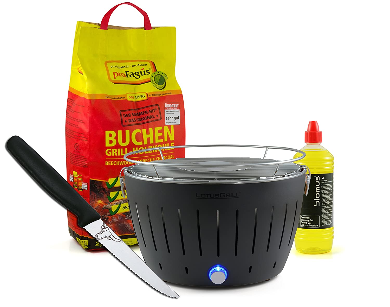 Lotusgrill ANTHRAZIT inkl. 2,5kg Holzkohle, Brenngel 1L & Steakmesser bestellen
