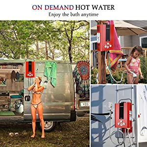 Tankless Water Heater, GASLAND Outdoors BE158R 1.58GPM 6L Portable Gas Water Heater, Instant Propane Water Heater, Overheating Protection, Easy to Install, for RV Cabin Barn Camping Boat, Red (Color: Red, Tamaño: 6L)