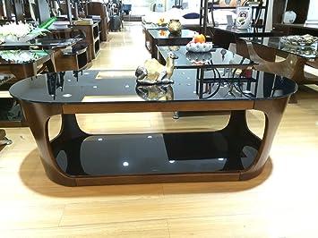Table basse rectangulaire en bois de forme ovale avec verre noir