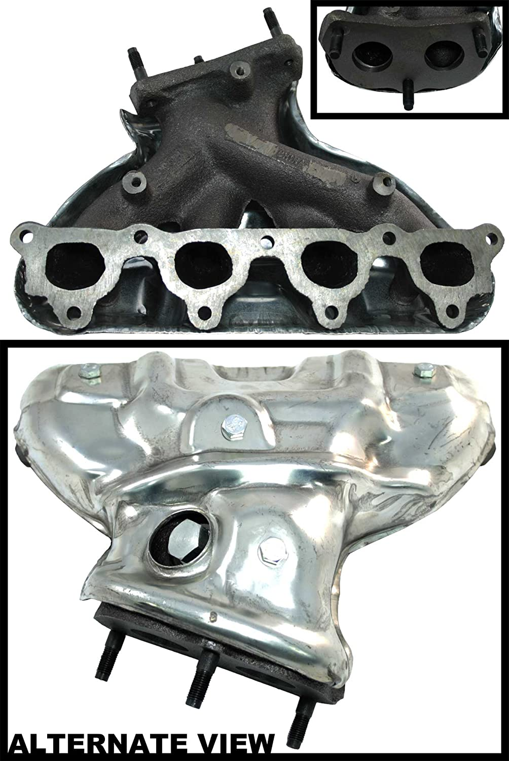 APDTY 18100-PEM-G00 Exhaust Manifold Assembly With Heat Shield For 1992-1998 Honda Civic 1.6L EX or SI / 1993-1997 Civic Del Sol 1.6 Liter Engine