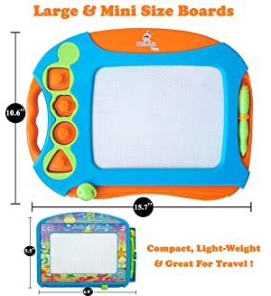 CHUCHIK Toys Magnetic Drawing Board for Kids and Toddlers. Large 15.7 Inch Doodle Writing Pad Comes with a 4-Color Travel Size Doodle Sketch Board. (Color: Blue-orange-green)