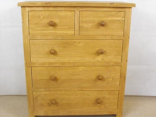 Mobiletto in legno di pino con 3 cassetti grandi, 2 cassetti piccoli, ideale per ogni camera da letto