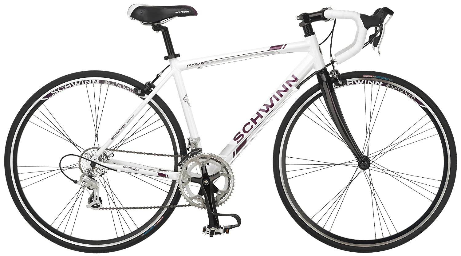 Bike Hybrid T1000 21 Spd Shogun Kent 700 Bar Road Bicycle White
