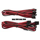 Corsair CP-8920183 Premium Individually Sleeved PCIe Cables with Dual Connectors, Red/Black, for Corsair PSUs (Color: Red/Black)