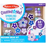 Melissa & Doug Sparkling Flowers Wooden Bead Set: 45 Beads and 3 Lacing Strings