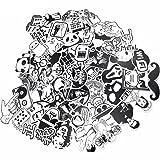 Dotiow Skateboard Luggage Stickers No Duplicated White Black Decal Vinyl Graffiti Flim Music Sticker Travel Car Bumper GDM Bomb Sticker Wall Decor (White& Black 100pcs) (Color: White& Black 100pcs)