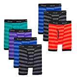 Fruit of the Loom Boys' Boxer Brief, Exposed and Covered, Assorted Color Stripes with Black Waistband, Medium