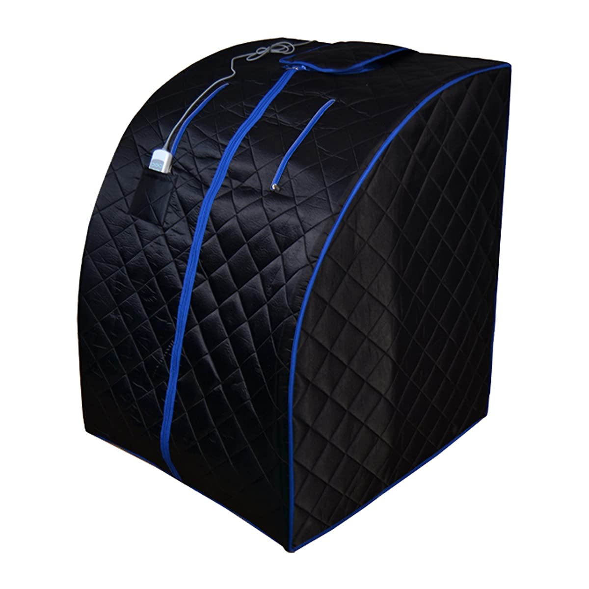 ALEKO PIN11BKBL Personal Folding Portable Home Infrared Sauna w/ Folding Chair and Foot Pad, Black w/ Blue Trim Color