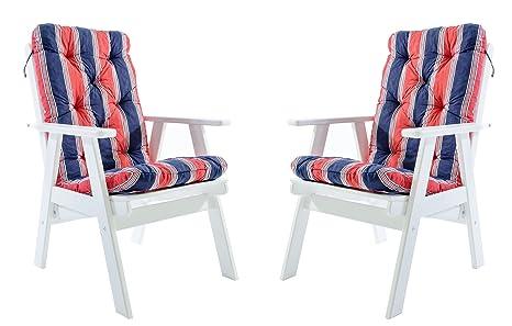 Java Exclusiv Ambientehome Varberg - Juego de 2 sillas de jardín, madera maciza, regulable, respaldo alto, incluye cojines, color blanco