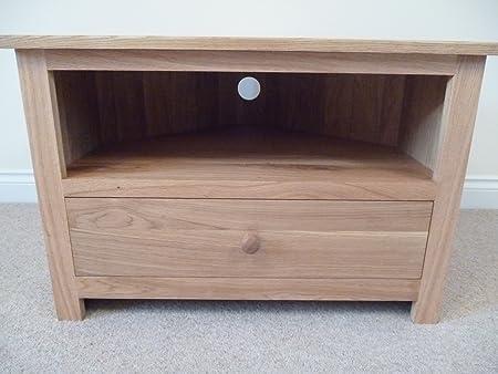 Meuble TV d'angle avec tiroir fond, idéal pour le salon ou la chambre