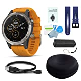 WhoIsCamera Garmin Fenix 5 Plus Sapphire Titanium w/Solar Flare Orange Band & Dark Blue Band Deluxe Bundle (Color: Titanium & Orange, Tamaño: Deluxe Kit/ Blue Band)