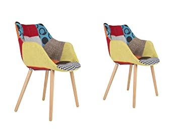 Zuiver 1100266 Lot de 2 Fauteuils Twelve Patchwork Tissu Multicolore 60 x 60 x 82 cm