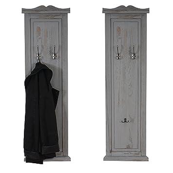 Garderobe Wandgarderobe mit Spiegel Wandhaken Shabby-Look Vintage braun