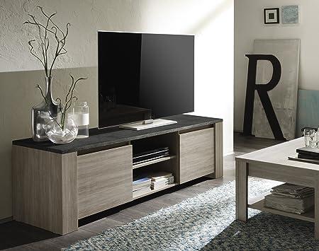 LC spa 200503M-01 TV Schrank Elba gross mit 2 Turen, 180 x 55 x 51 cm, in Eiche/Obenplatte Marmor, grau