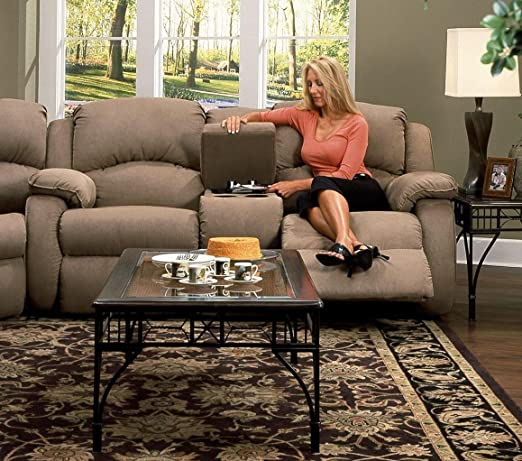 Recline Designs 705-28 Gabriella Microsuede Dual Reclining Loveseat with Console