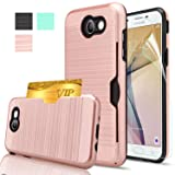 Galaxy J7 V Case, Galaxy J7 Sky Pro / J7 Perx /J7 Prime/Halo Case With HD Screen Protector,AnoKe[Card Slots Holder] Kickstand Plastic TPU Hybrid Wallet Case For Samsung J7 2017 KC2 Rose Gold (Color: KC2 Rose Gold)