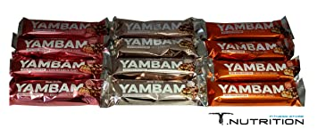 BodyAttack YAMBAM Protein Bar 12 x 80g MIX (Erdbeere, Peanut, Cookie)