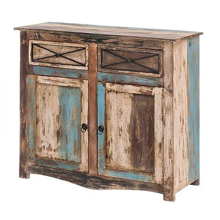 Kommode Vintage Holz Bunt Massiv bemalt lackiert 100 cm Breit Mango Massivholz