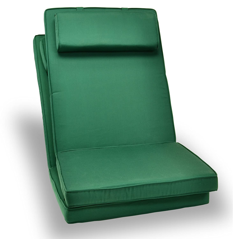 2-er Set Sitz-Auflagen Polster für Hochlehner Garten- und Klappstuhl Campingstühle Terrassenmöbel hochwertig bequem grün