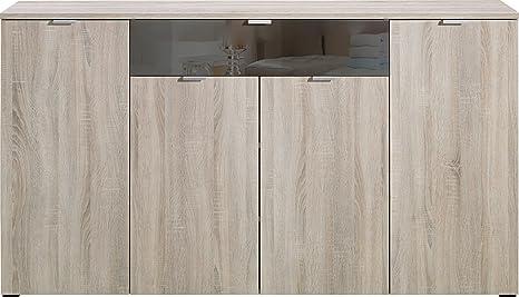 CS Schmalmöbel 35.540.051/14 Compleo Kommode Typ 14, 181.5 x 101 x 38.5 cm, eiche/ grauspiegelglas
