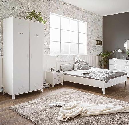 Schlafzimmer, Set, Schlafzimmermöbel, Kleiderschrank, Bett, Futonbett, Nachtschrank, Liegefläche ca. 140x200 cm, 3-tlg, weiß, matt, Spind-Stil