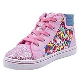 Shopkins Girls Printed Canvas Sneaker Pink/Blue Denim 11 (Color: Pink/Blue Denim, Tamaño: 11 US Little Kid)